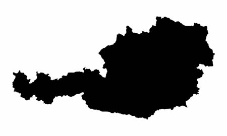 Austria dark silhouette map isolated on white background