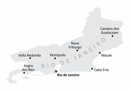 Gray map of Rio de Janeiro State with the main cities labels, Brazil Çizim