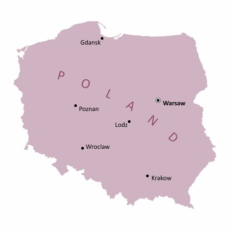 A Poland map with the main cities labels