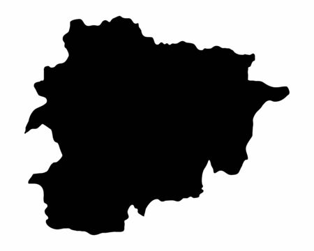 Andorra dark silhouette map isolated on white background