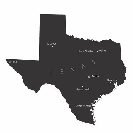 Texas isolated map with the main cities labels