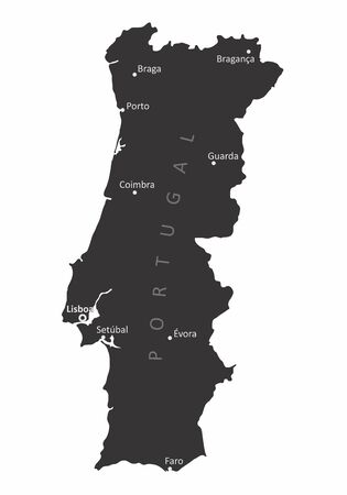 Portugal isolated map with some cities labels