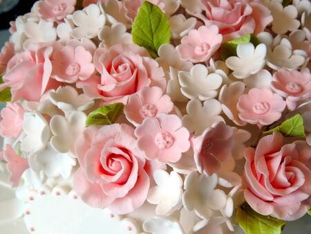 Close up on Sugar flowers cake decoration