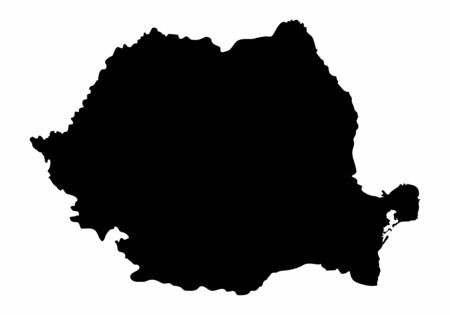 Romania dark silhouette map isolated on white background Çizim