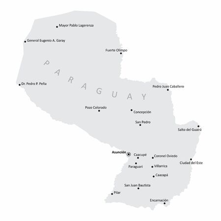 The Paraguay map with the main cities labels Çizim