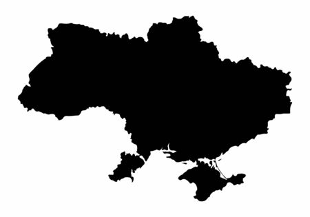 Ukraine dark silhouette map isolated on white background Çizim