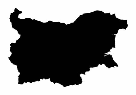 Bulgaria dark silhouette map isolated on white background Illustration