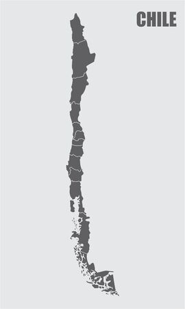 The dark gray map of Chile divided into regions