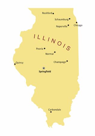The Illinois map with some cities labels