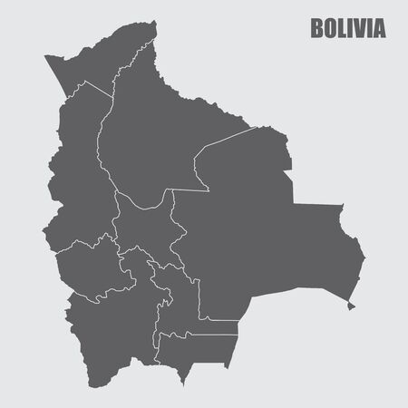 Bolivia regions map Ilustração