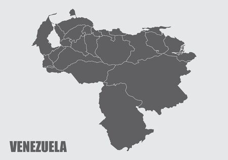 The dark gray map of Venezuela divided into regions