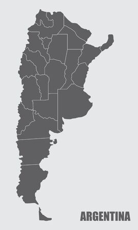 The dark gray map of Argentina divided into regions Çizim