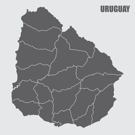 The dark gray map of Uruguay divided into regions