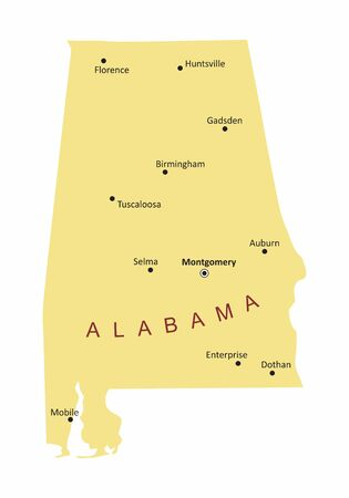 The Alabama State map with some cities labels