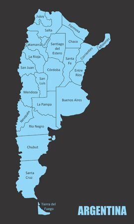 Argentina regions map Ilustração