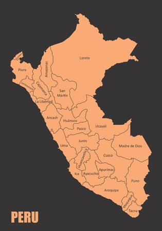Peru regions map Ilustração