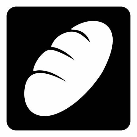 A black and white Bread icon illustration Ilustração