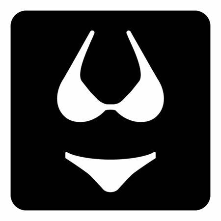 A black and white Bikini icon illustration