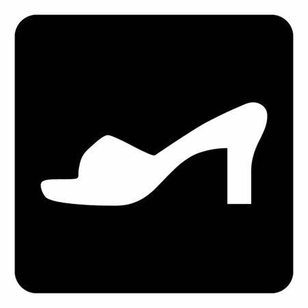 A black and white Women shoe icon Ilustração