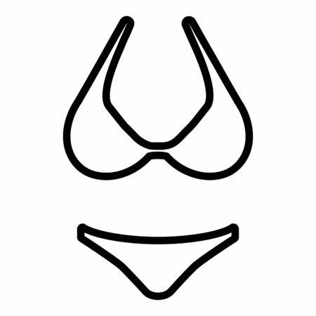 Bikini icon illustration. Black outlines on white background.