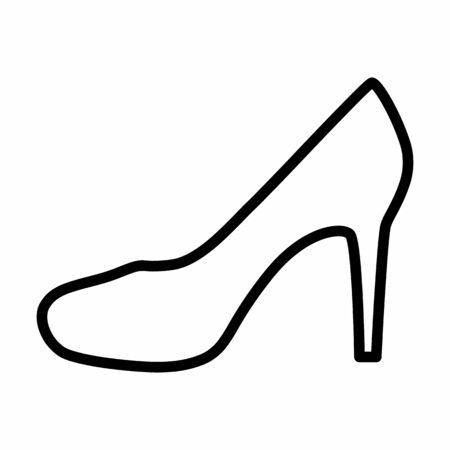 Women shoe icon illustration. Black outlines on white background.