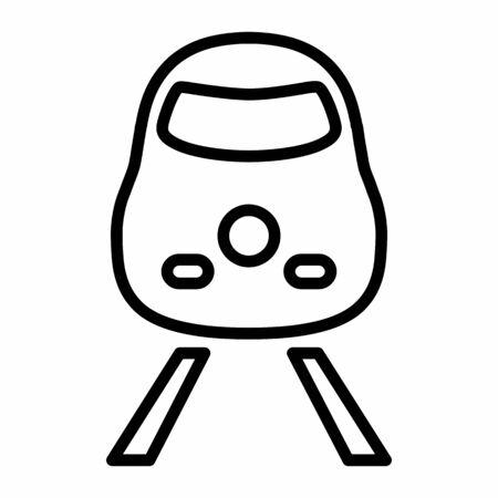 Train icon illustration. Black outlines on white background. Ilustração