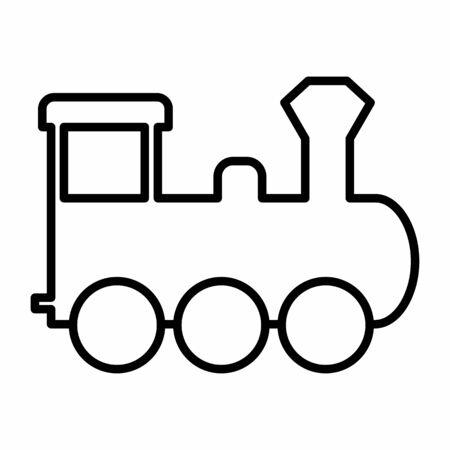 Locomotive icon illustration. Black outlines on white background. Ilustração