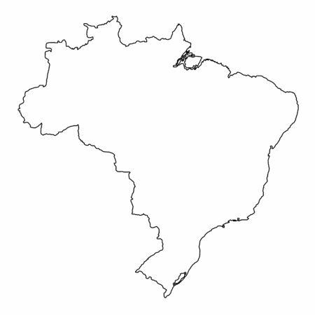 Brazil map illustration. Black outlines on white background. Ilustração