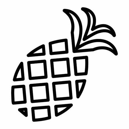 Pineapple icon illustration. Black outlines on white background. Ilustração