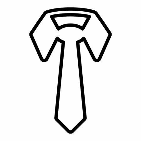 Tie icon illustration. Black outlines on white background.