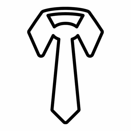 Tie icon illustration. Black outlines on white background.