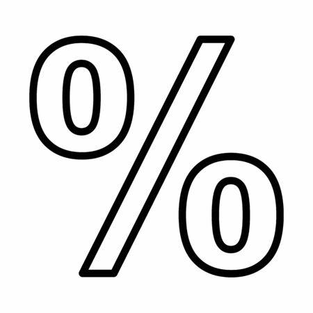 Percent sign illustration. Black outlines on white background.