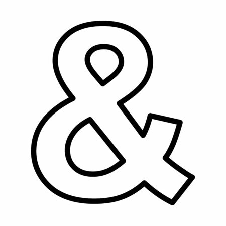 Ampersand icon illustration. Black outlines on white background.