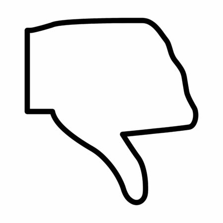Thumbs down icon. Black outlines on white background.
