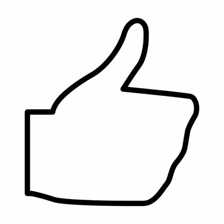 Thumbs up icon. Black outlines on white background.