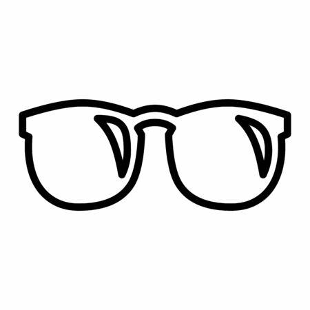 Glasses icon illustration. Black outlines on white background.