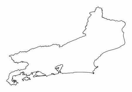 Rio de Janeiro State map. Black outlines on white background.