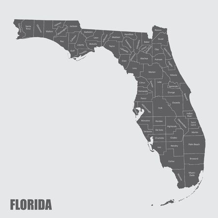 Map of the state of Florida and its counties
