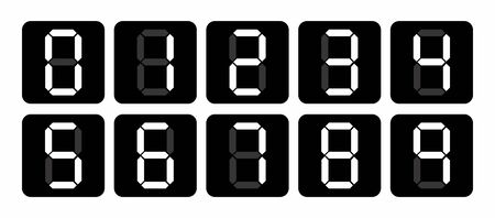 A black and white set of Digital numbers