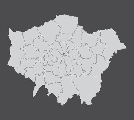 A London map divided into regions isolated on dark background