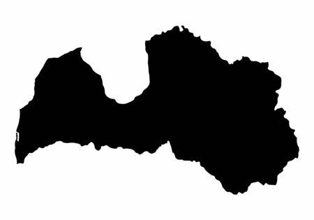 Latvia silhouette map isolated on white background Ilustração