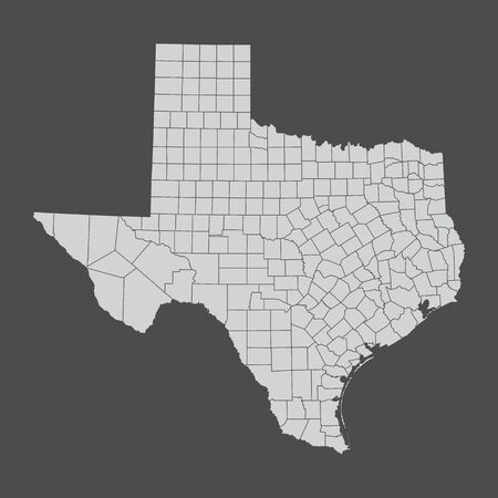 Map of the state of Texas and its counties Ilustração