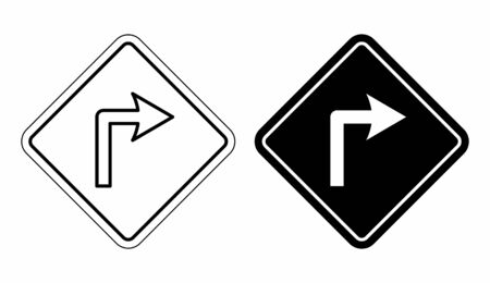 Black and white Left traffic sign icons