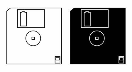 Black and white Hard floppy disk icons