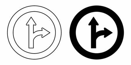 Bifurcation traffic sign icons Ilustração