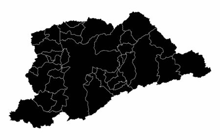 Greater Sao Paulo dark silhouette map isolated on white background, Brazil