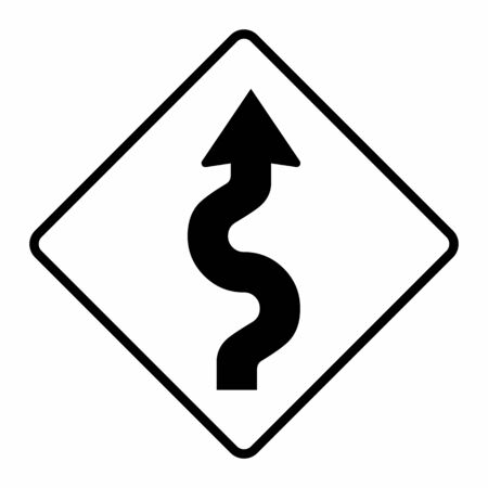 Winding road traffic sign