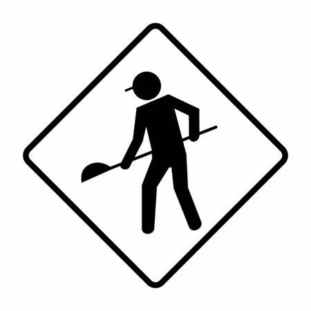 Under construction road sign Ilustração
