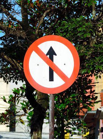 Prohibited way traffic sign Imagens