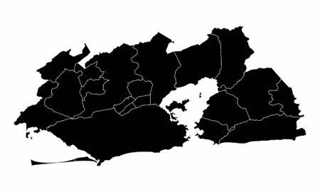 Greater Rio de Janeiro dark silhouette map isolated on white background, Brazil